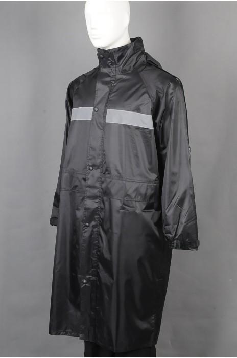 iG-BD-CN-118 订做黑色过膝雨褛制服 设计单条反光条连帽雨褛制服 雨褛制服供应商
