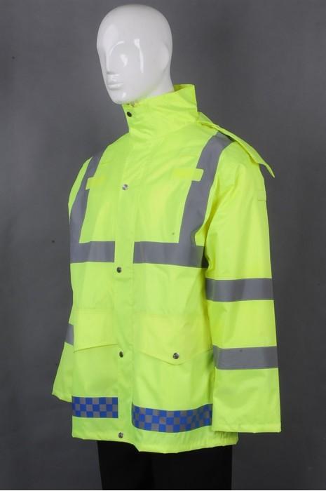 iG-BD-CN-117 订制长袖连帽雨褛制服 设计反光条雨褛制服 雨褛制服中心