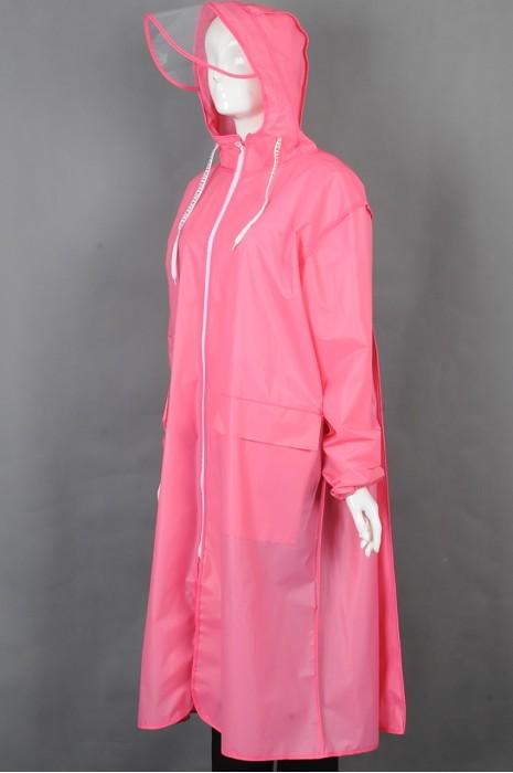 iG-BD-CN-116 订制粉色长款过膝雨褛制服 时尚连帽抽绳拉链橡筋袖口雨褛制服 雨褛制服中心
