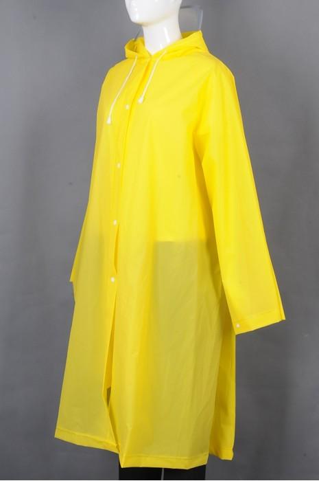 iG-BD-CN-115 订制黄色长款过膝雨褛制服 时尚连帽抽绳雨褛制服 雨褛制服中心