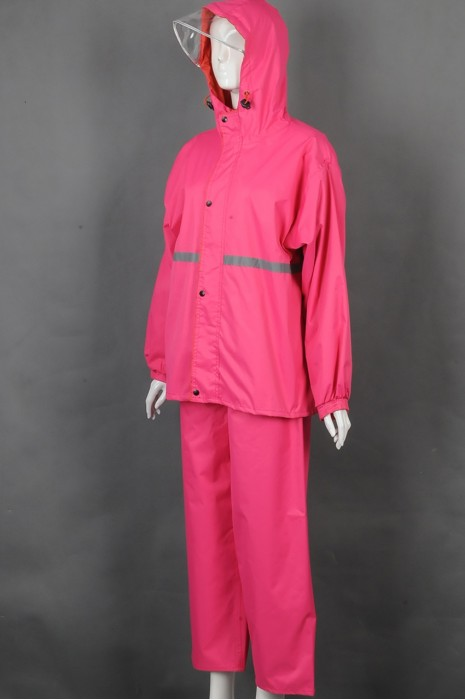 iG-BD-CN-114 订制粉色连帽檐雨褛套装制服 设计单条反光条雨褛制服 雨褛制服中心