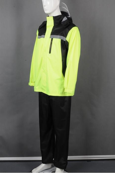 iG-BD-CN-052 制造长袖连帽檐雨褛制服 设计拼接色魔术贴袖口雨褛制服 雨褛制服中心