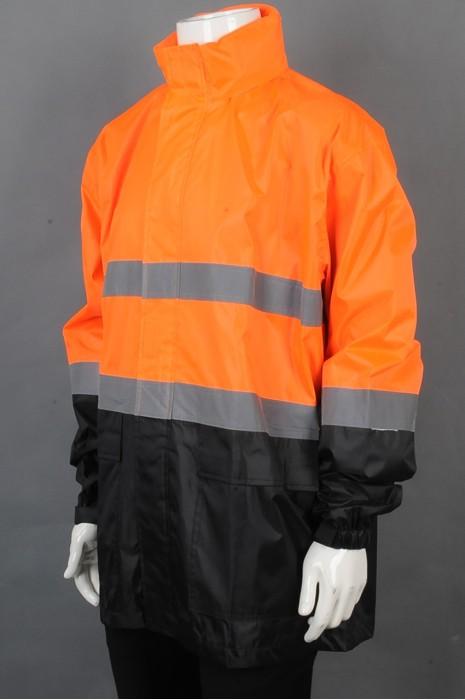 iG-BD-CN-051 订制长袖拼接雨褛制服 设计魔术贴袖口雨褛制服 雨褛制服中心