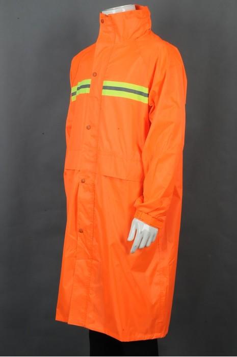 iG-BD-CN-050 订制橙色过膝雨褛制服 设计橡筋袖口雨褛制服 雨褛制服供应商