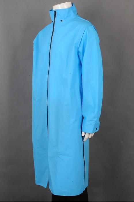 iG-BD-CN-049 制造长款过膝雨褛制服 设计拉链雨褛制服 雨褛制服供应商