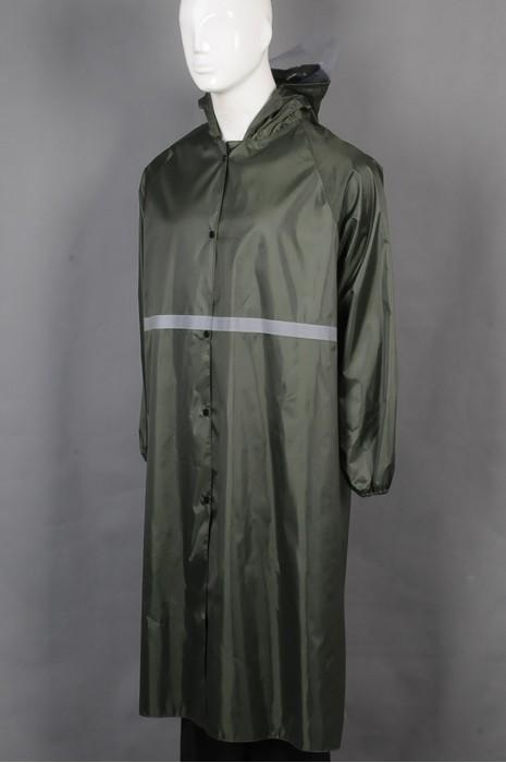 iG-BD-CN-048 订制单条反光条连帽雨褛制服 设计抽绳连帽钮扣过膝雨褛制服 雨褛制服生产商