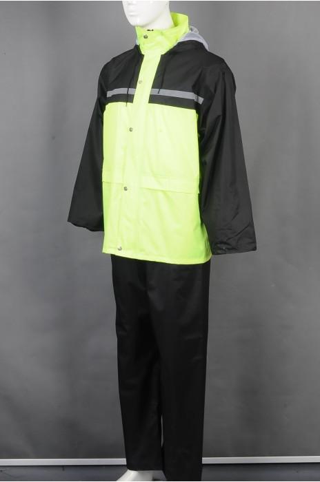 iG-BD-CN-023 订做长袖连帽雨褛制服 设计单条反光条雨褛制服 雨褛制服中心