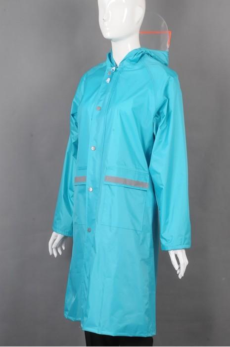 iG-BD-CN-022 网上下单订购蓝色长款雨褛制服 设计单条反光条可调节帽檐雨褛制服 雨褛制服供应商