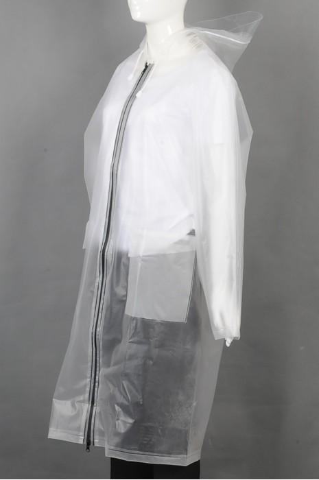 iG-BD-CN-021 订做白色透明过膝雨褛制服 设计拉链连帽抽绳帽檐雨褛制服  雨褛制服中心