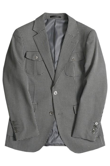 SKMS013   訂製復古英倫風西裝 四口袋裝飾 細格子修身有型獵裝 單件西裝外套