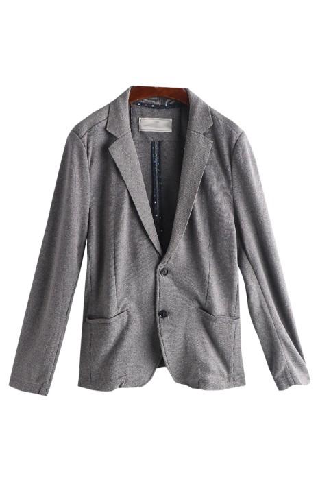 SKMS025  訂購百搭長袖男西裝   純色   針織男西服   冇裡布