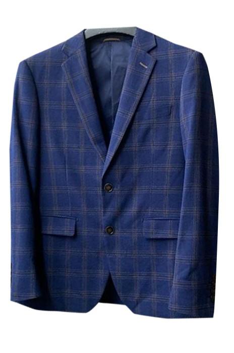 SKMS030  個人設計高端單排雙鈕西裝外套  自訂藍色格子商務西裝外套 西裝外套供應商