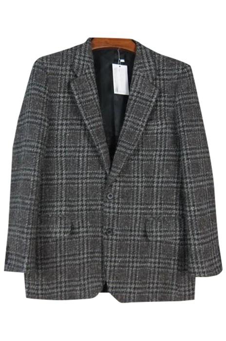 SKMS031  大量訂製男裝羊毛粗花呢西裝外套  設計單排雙鈕復古獵裝格子外套  西裝外套生產商