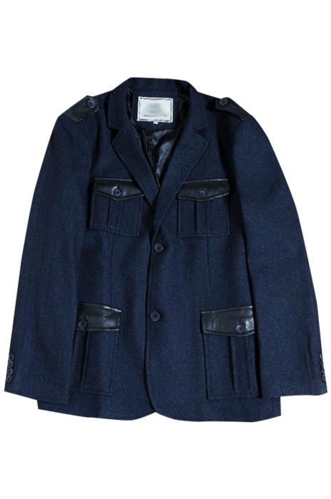 SKMS035  網上下單訂購紳士復古西裝外套  個人設計粗花呢獵裝四袋口西裝外套  西裝外套中心  商務休閒