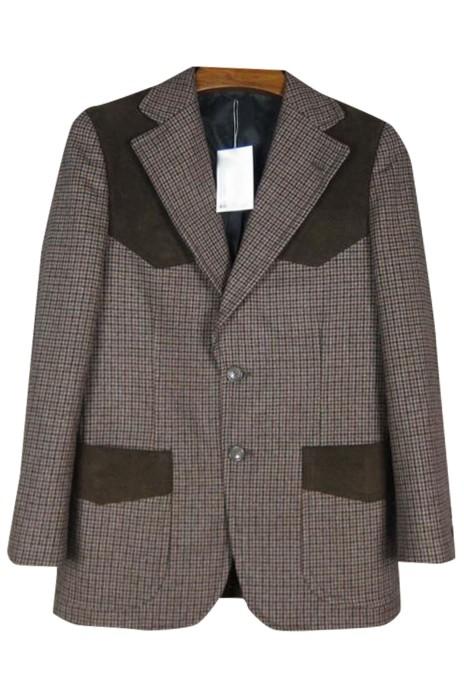 SKMS036 大量訂購拼肩復古千鳥格西裝外套   自訂修身獵裝西裝 單排雙鈕  西裝外套供應商