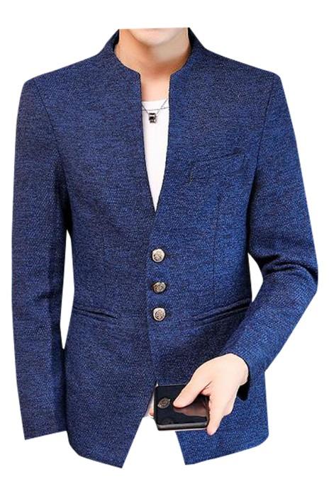 SKMS037  自訂中山裝西裝外套  時尚設計無領單排雙鈕淨色中山裝  西裝外套專門店