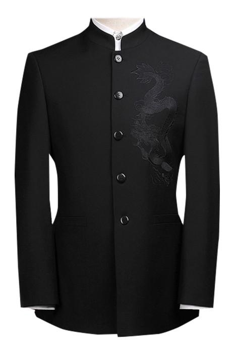 SKMS041  設計中山裝   男士青年修身套裝   中華立領西服裝   演出服結婚禮服  中國風唐裝   繡花龍    純黑簡約款  抗皺服帖