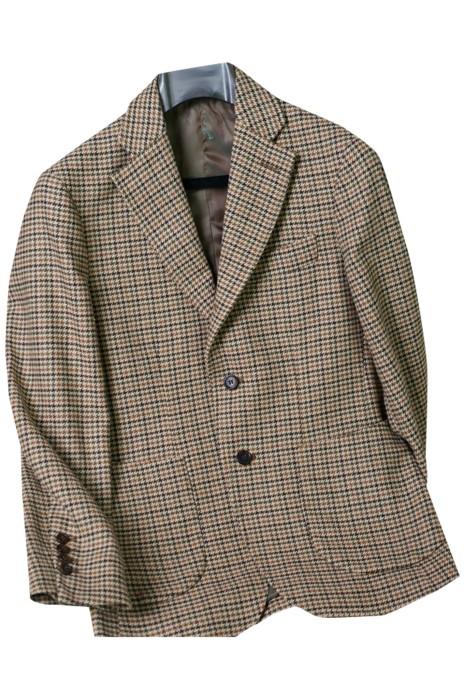 SKMS042  設計復古英倫溫莎格羊毛西裝    秋冬   粗花呢  犬牙紋格子   修身西服外套男  兩粒單排扣   雙開杈