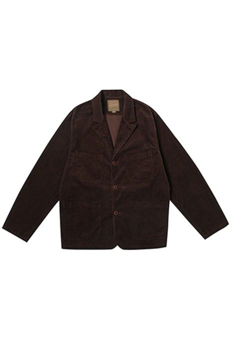 SKMS045  設計英式複古狩獵燈芯絨西裝   夾克男   多口袋工裝   寬鬆外套   反領   散口袖   單排釦   立體貼袋