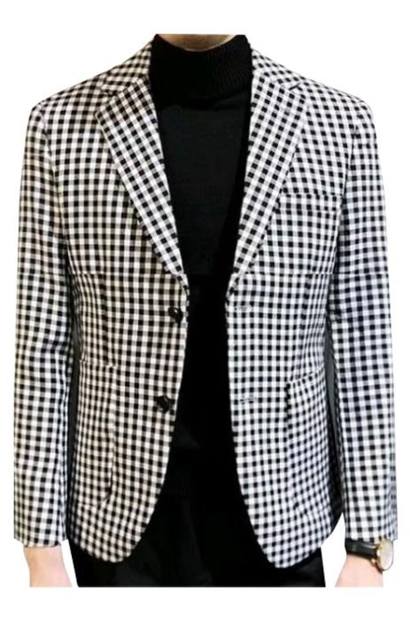 SKMS047  男外套千鳥格小西服    髮型師   修身   韓版   小格子   商務西裝休閒上衣