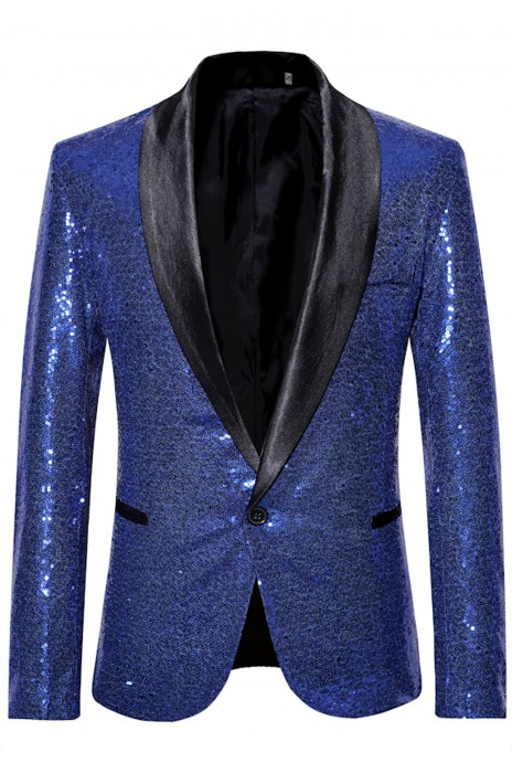 SKMS048   設計亮片個性西裝  男歌手禮服演出西裝   金色西裝外套   主持人服裝   影樓西服男