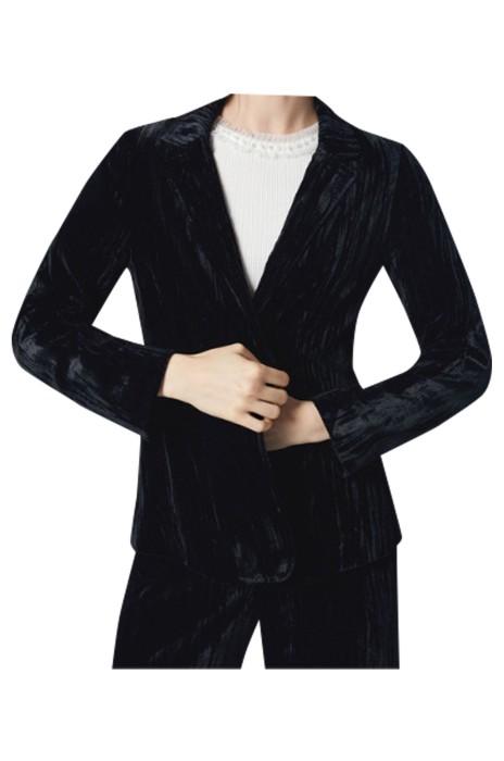 SKLS003  秋季西裝   女裝復古絨面   氣直筒短外套女   絨面面料