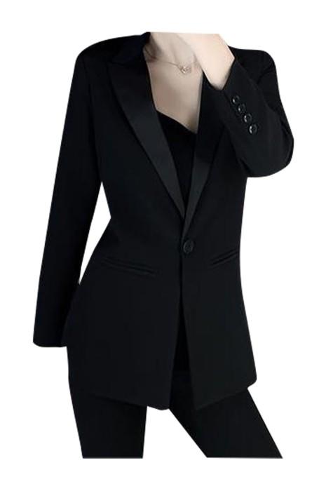 SKLS004 製造厚墊女西裝  時尚設計雙排釦修身修腰西裝 西裝供應商