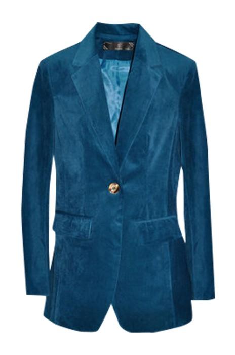 SKLS005  訂製燈芯絨西裝外套  女長袖  大碼修身復古   孔雀藍條絨   卡其色西服   上衣春秋