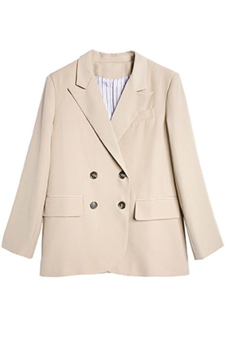 SKLS008  後開叉卡其色   大碼小西裝   外套女   新款設計感  墊肩春秋英倫風