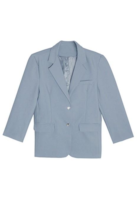 SKLS009  訂製气质蓝色西装外套  女韩版宽松垫肩   通勤西服口袋纽扣   中长款上衣