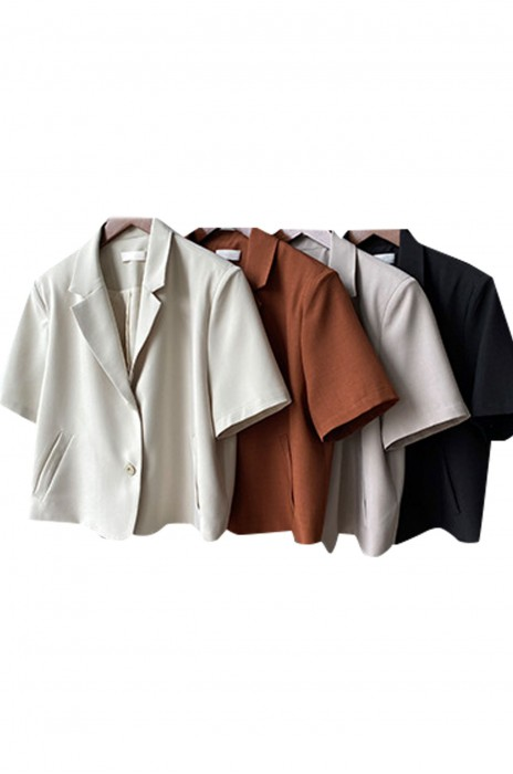 SKLS039  設計短袖西裝外套    女薄款春秋夏季    潮垂感短款   休閒小西服上衣   單排釦   西裝領