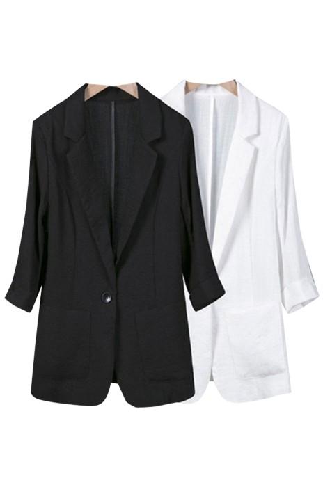 SKLS042  訂製夏季大碼西裝外套    棉麻西服  修身休閒   七分袖   薄亞麻小西裝外套女
