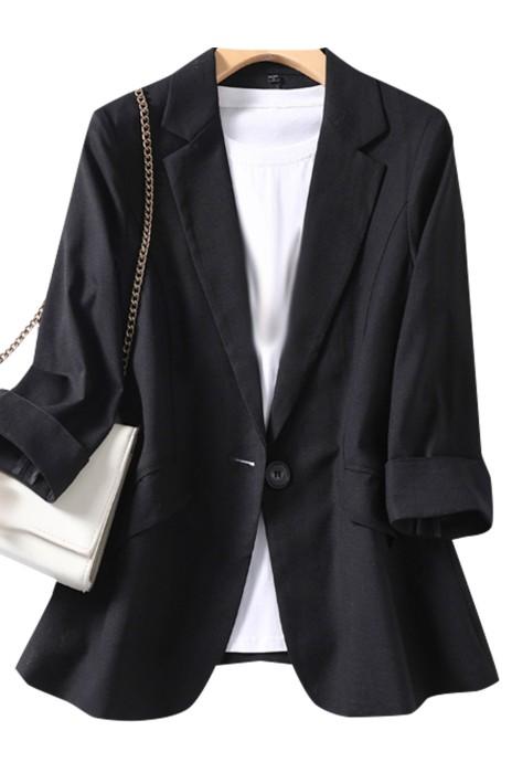 SKLS043  訂製天絲亞麻薄款小西裝外套   女七分袖   氣質修身西服女上衣    西裝領