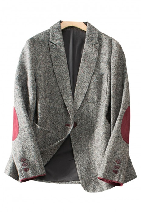SKLS044   設計復古英倫風   拼紅麂皮袖   口袋點綴   修身薄羊毛西裝女    60%羊毛   40%聚酯纖維    肘部貼飾西裝外套