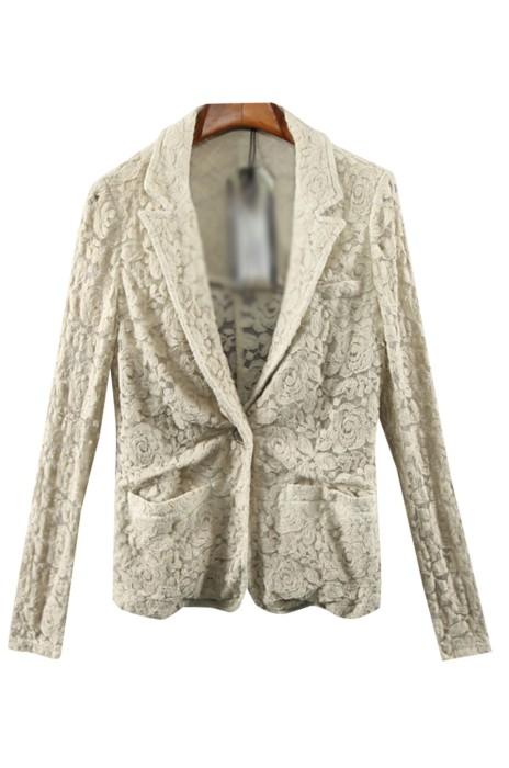 SKLS046   設計女裝復古休閒西裝套裝    一粒扣    蕾絲氣質西裝外套