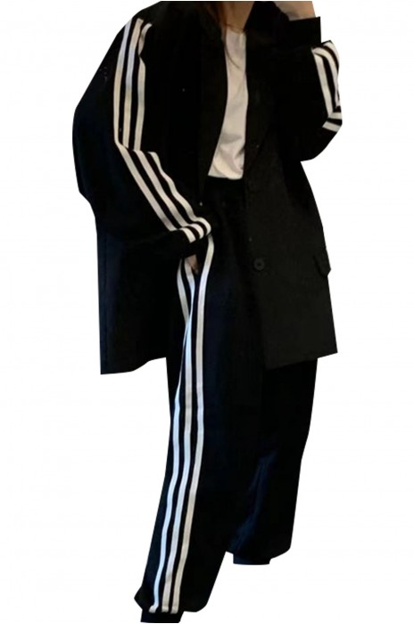 SKLS051  訂做寬鬆中長款西裝   設計感運動風條紋長袖西裝外套女   運動外套