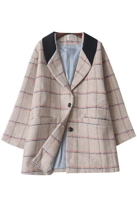 SKLS052  韓版時尚寬鬆大碼呢大衣西裝    英倫風   格子百搭毛呢西裝外套