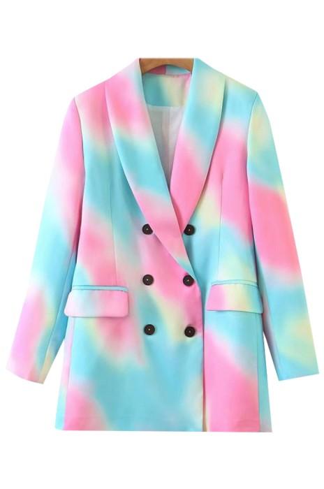 SKLS053  設計歐美風復古扎染西裝外套    紮染雙排扣長袖修身西裝外套