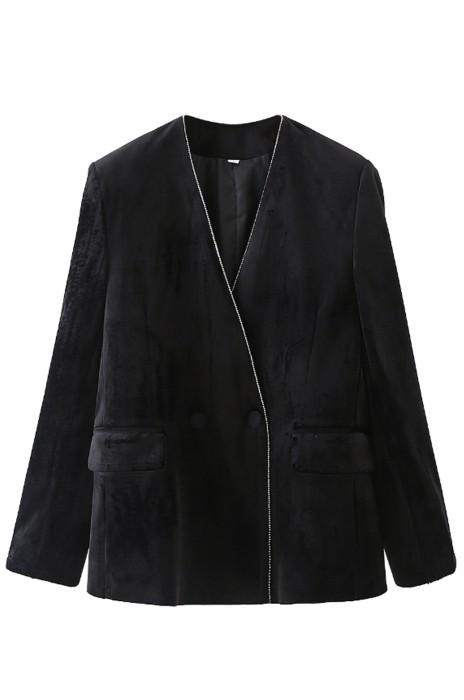 SKLS057    訂做天鵝絨長袖黑色百搭西裝外套    棒球服   夾克    西服上衣