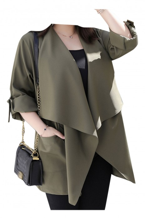 SKLS059  設計女裝韓版時尚西裝外套   闊版風衣西裝    瀑布式西裝外套