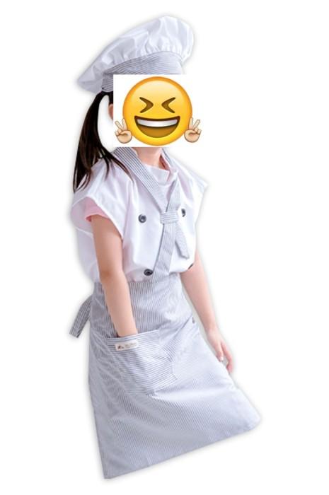 SKKI002   條紋兒童廚師服  套裝可愛中大童烘焙小廚師帽   幼兒演出表演定制  烘焙 做麵包 宅經濟