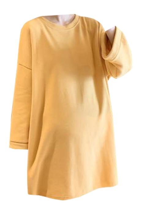 SKUFPW001 製造孕婦裝長袖T恤  設計圓領T恤 淨色  孕婦裝供應商