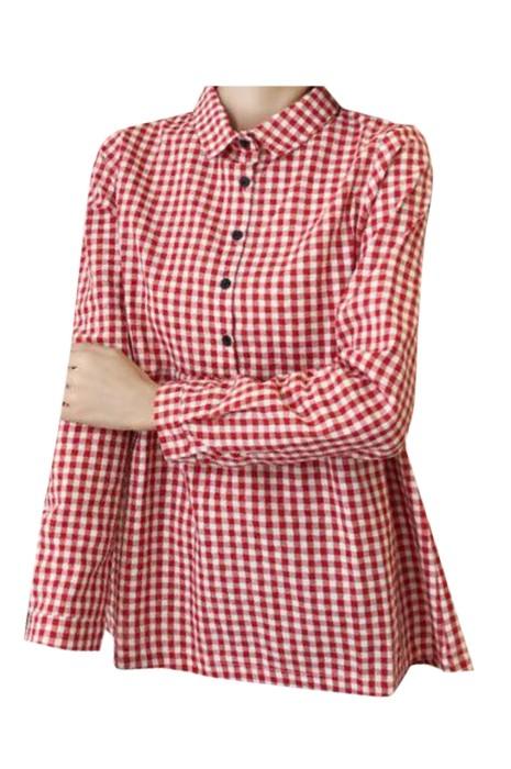 SKUFPW004 大量訂製長袖孕婦裝 時尚設計格子 翻領上衣 孕婦裝供應商