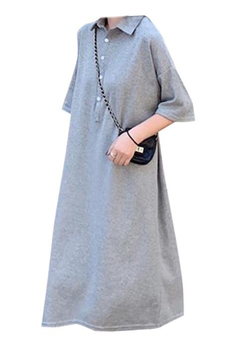 SKUFPW005 製造短袖孕婦連身裙 設計翻領POLO連身裙 連身裙中心