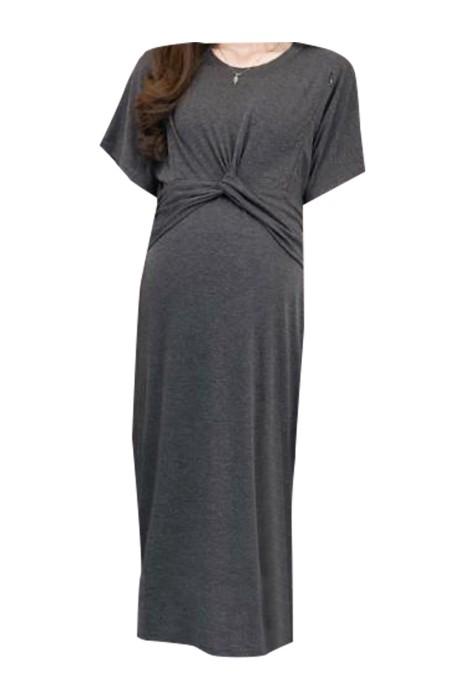 SKUFPW006 大量訂製孕婦連身裙 製造雙側拉鏈設計 腰間交叉長裙 孕婦供應商