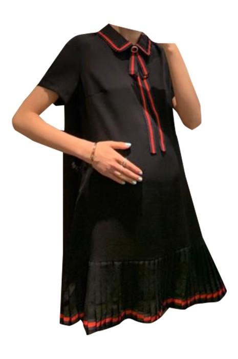 SKUFPW007  製造孕婦短袖連身裙 設計翻領 下擺百褶裙 孕婦連身裙中心