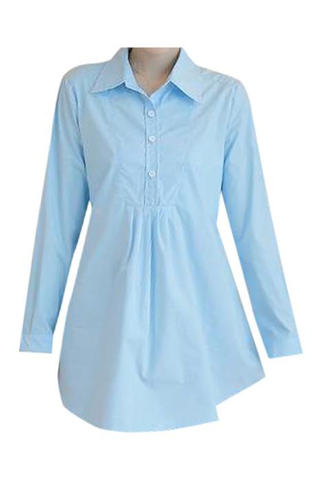 SKUFPW011 製造長袖孕婦裝 設計後綁帶工作襯衫 孕婦裝工廠