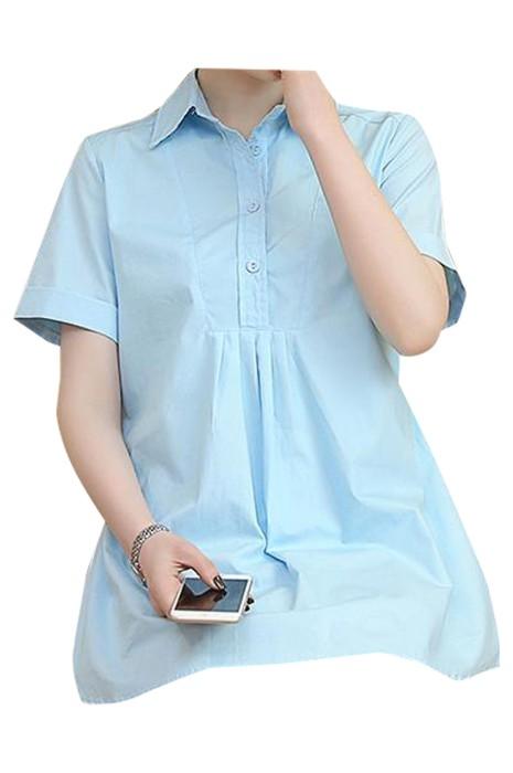 SKUFPW012 大量訂製短袖孕婦裝襯衫  設計翻領 後綁帶孕婦裝 工作服 孕婦裝中心