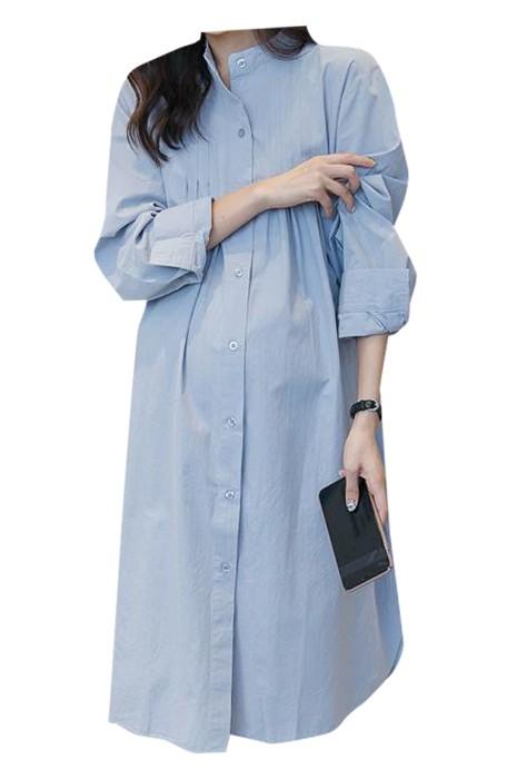 SKUFPW013 製造長袖孕婦裝 設計連身裙襯衫孕婦裝 立領 孕婦裝供應商