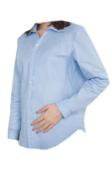 SKUFPW016 製造長袖襯衫孕婦裝 設計工作服孕婦裝 紐扣袖口 孕婦裝製衣廠